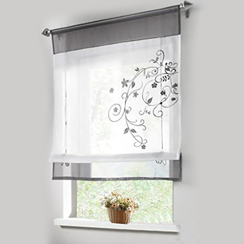 1pcs Sheer Liftable Organza Embroidered Kitchen Curtains Roman Window Shades,Grey,39×55""