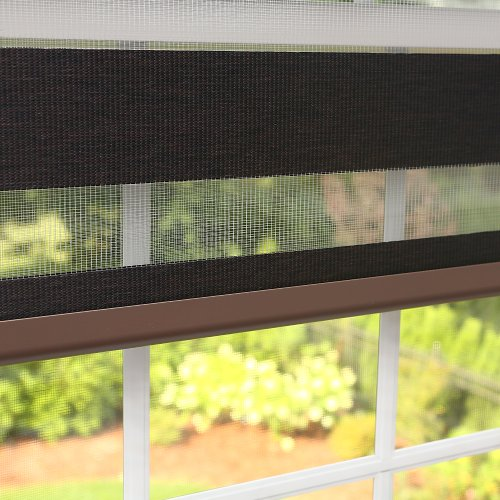 Best Home Fashion Premium Duo Wood Look Roller Window Shade – Charcoal – 33″W x 64″L