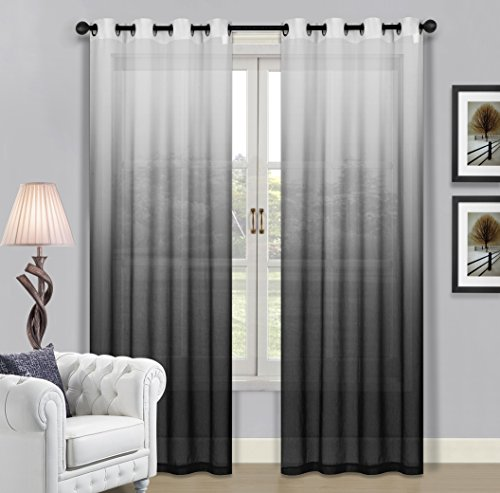Beverly Hills Window Treatment Collection Fabric Ombre Sheer Grommet Window Panels a Pair of 2 Panels 52″inch Width 84″inch Length Each Panel. (Gray / Black)