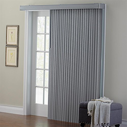 Brylanehome Embossed Vertical Blinds (Grey,42″ W 63″ L)