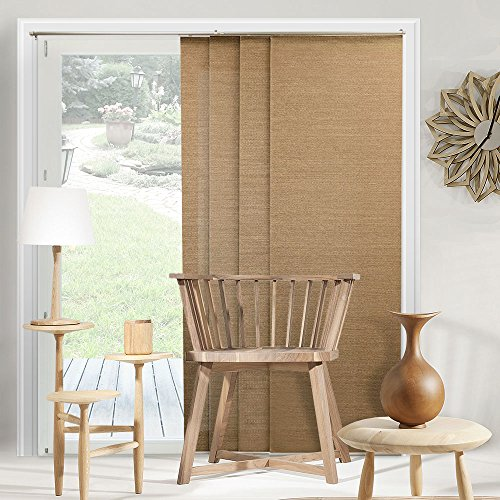 Chicology Adjustable Sliding Panel, Cordless Shade, Double Rail Track, Privacy Fabric, 80″ x 96″, Birch Truffle