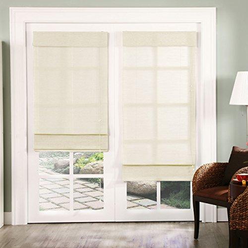 Chicology Roman Shade, Jute Fabric, Privacy, Nevada Vanilla (White), 24″x72″