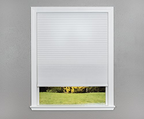 Easy Lift Trim-at-Home Cordless Cellular Light Filtering Fabric Shade White, 36 in x 64 in, (Fits windows 19″- 36″)