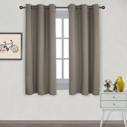 Nicetown Window Treatment Thermal Insulated Solid Grommet Blackout Curtains / Drapes for Bedroom (Set of 2 Panels,42 by 63 Inch,Taupe-Khaki)