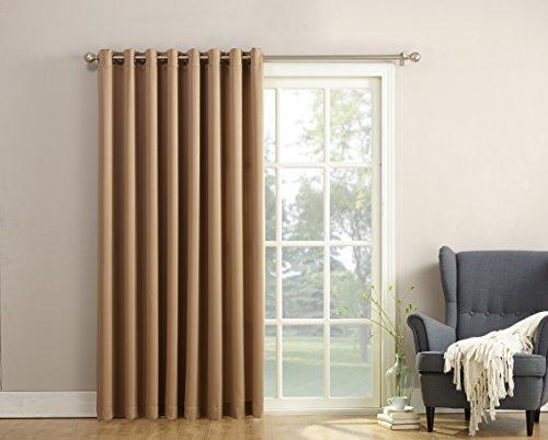 Sun Zero Barrow Extra Wide Energy Efficient Grommet Patio Door Curtain Panel, 100 x 84 Inch, Taupe
