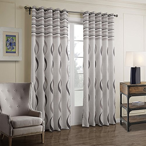 VIVOHOME Window Treatment Printed Thermal Insulated Curtain, One Panel with Grommets, White with Gray Stripes (55.18Wx88.58L-Inch)