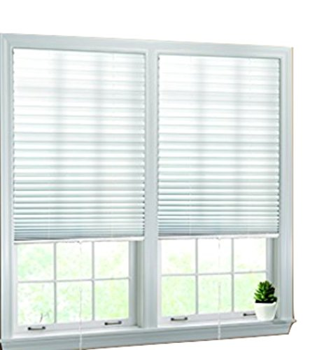 "Luxr Blinds Pleated Fabric Shades with Pull Cord Operation: Quick Fix Installation Light Filtering Blinds- White, 36""x72"""