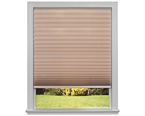 Easy Lift Trim-at-Home Cordless Pleated Light Filtering Fabric Shade White, 30 in x 64 in, (Fits windows 19″- 30″)