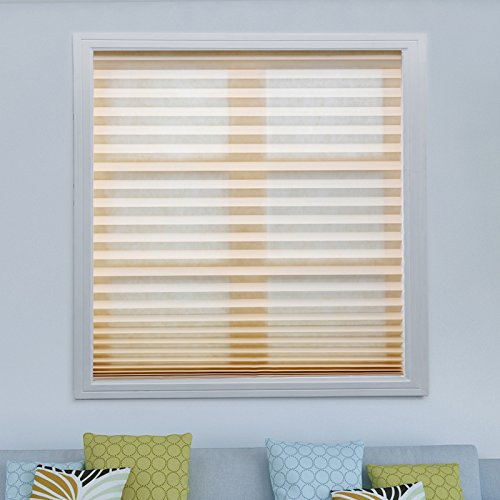Easy to Install Pleated Fabric Shades Room Darkening Window Shades Blackout Pleated Blinds White/Black
