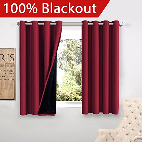 Flamingo P Full Blackout Grey Curtains Faux Silk Satin with Black Liner Thermal Insulated Window Treatment Panels, Grommet Top (52 by 84 Inch, Set of 2)