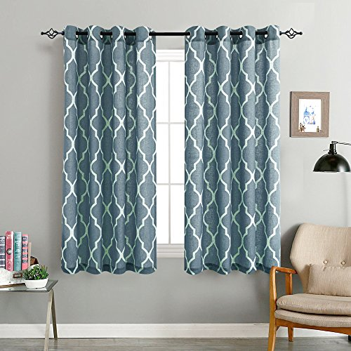 jinchan Moroccan Print Curtains Eyelet- Thermal Insulated Room Darkening Curtains for Bedroom (2 Panels)