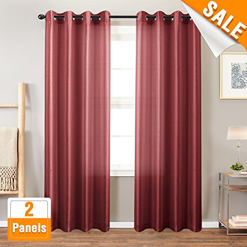 Faux Silk Curtains for Bedroom Grommet Top Dupioni Light Reducing Window Curtains for Living Room Satin Drapes Privacy Window Treatments, 2 Panels