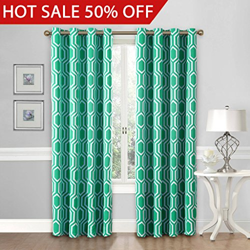 Flamingo P Blackout Energy Efficient Chevron Thermal Insulated Drapes Printed Window Curtains for Living Room, Grommet Top, 2 Panels, W52 x L63 -Inch, Dove Gray