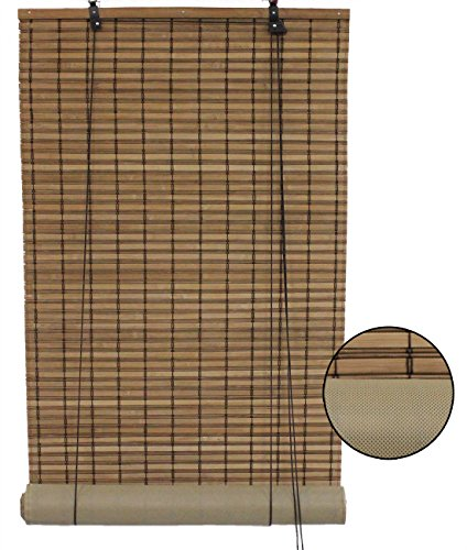 Seta Direct Brown Bamboo Slat Roll Up Blind with Privacy Backer Liner